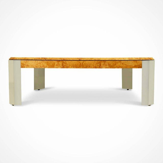 Contemporary Leon Rosen for the Pace Collection Burled Wood Large Coffee Table For Sale - Image 3 of 8
