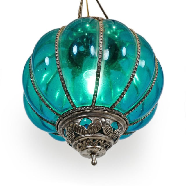 Indian Vintage Turquoise Pumpkin Lantern For Sale - Image 3 of 5