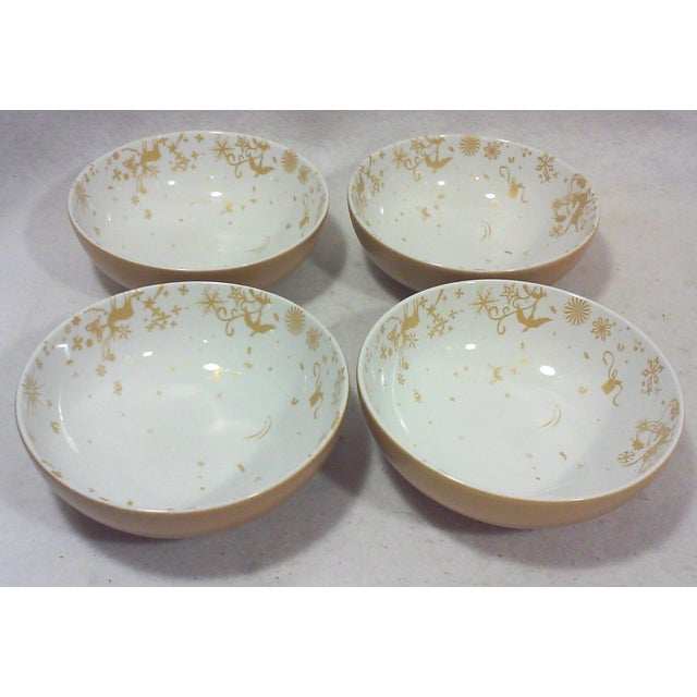 Ceramic Gold and White Winter Stag Bowls - Set of 4 For Sale - Image 7 of 7