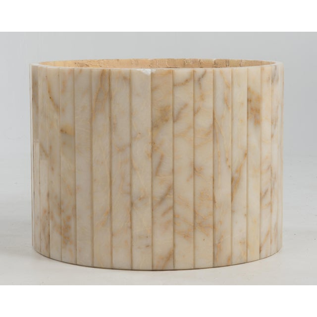 Hollywood Regency Round Alabaster Coffee Table on a Drum Base For Sale - Image 12 of 13