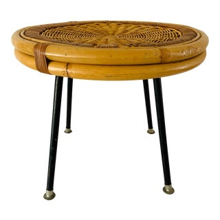 1960's Rustic Danny Ho Fong Iron and Rattan Table Plant Stand Stool For Sale
