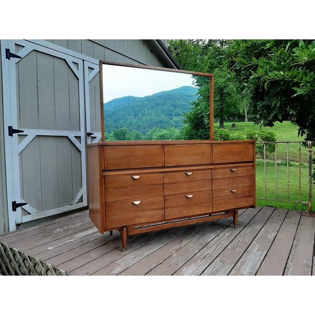 Mid Century Modern Hooker Mainline 9 Drawer Walnut Dresser With Mirror For Sale - Image 13 of 13