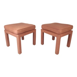Pair of Mid-Century Modern Pink Ottomans For Sale