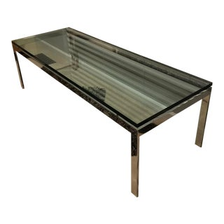 "Vintage 1970s Mid Century Modern Solid Chrome Glass Top 54"" Coffee Table For Sale"