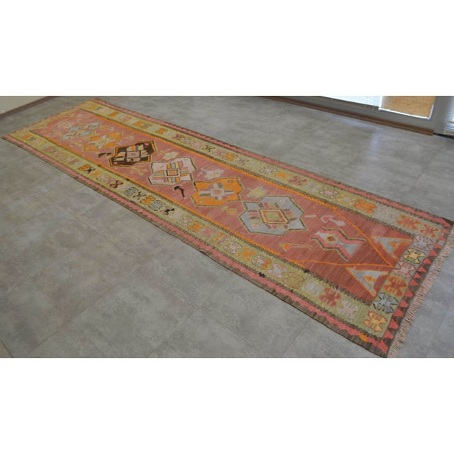 """Dimension: 46,1"""" x 165,4"""" Excluding fringe Material :The original rug is made of silk on cotton Condition: Used. in good..."""