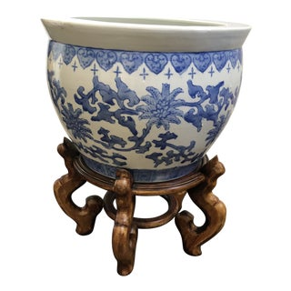 Blue & White Fish Bowl W/ Stand For Sale