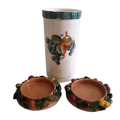 Italian Wine Cooler with Coasters - 3 Pieces - Image 1 of 6