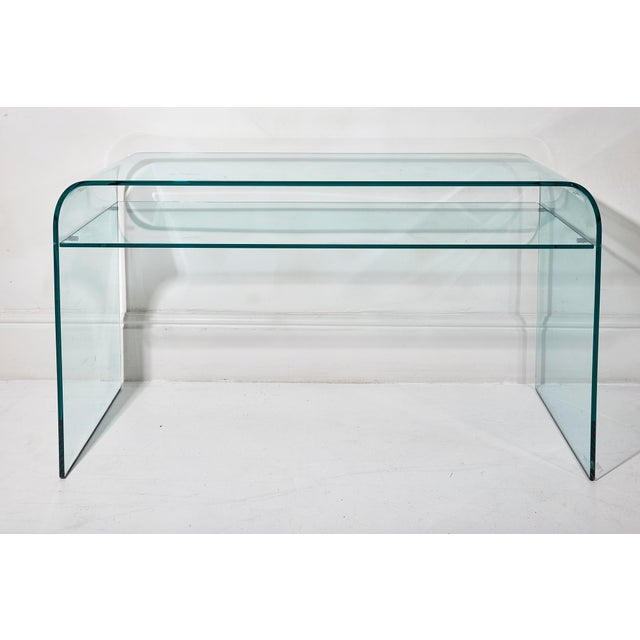 Italian Elmentare Glass Desk For Sale - Image 3 of 5