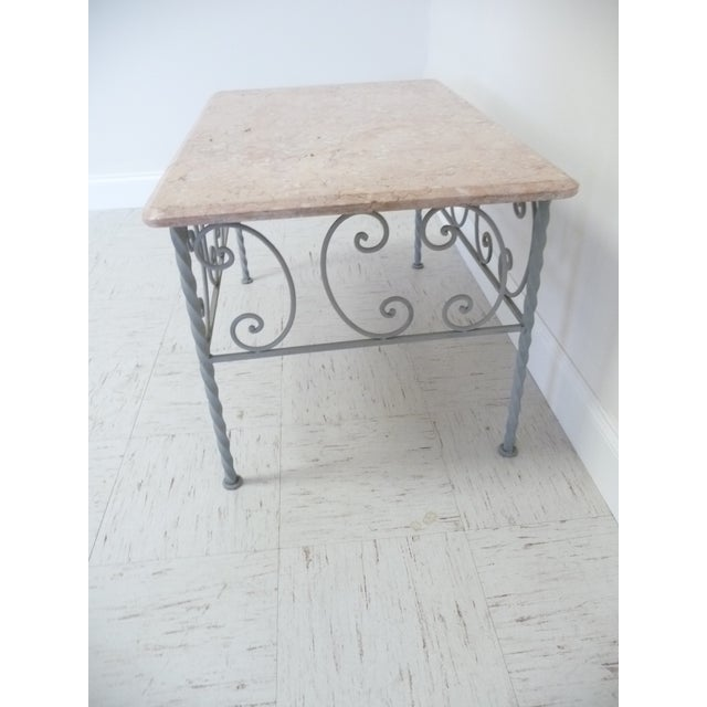 Vintage French Iron & Marble Top Coffee Table - Image 4 of 9