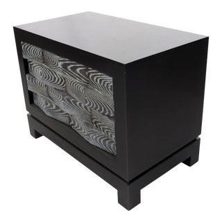 Cerused Oak Black Lacquer Bracket Feet Two-Drawer Bachelor Chest For Sale