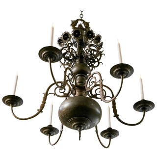 Magnificent Bronze Dutch Baroque Georgian Style Chandelier For Sale