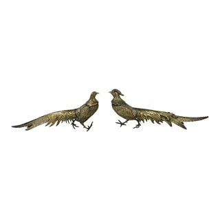 1980s Tabletop Brass Pheasant Figurines - a Pair For Sale