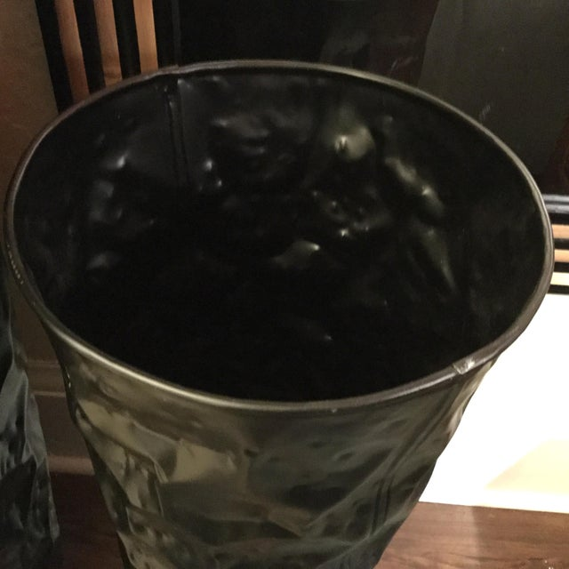 Contemporary Small Black Matte Chisel Planter For Sale - Image 3 of 4