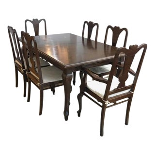 Indo-Colonial Solid Teak Dining Set - 7 Pieces For Sale