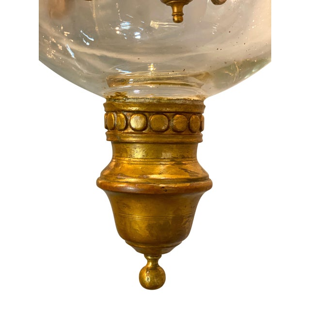 French Country Louis Philippe Brass Bell Form Hall Lantern For Sale - Image 3 of 8