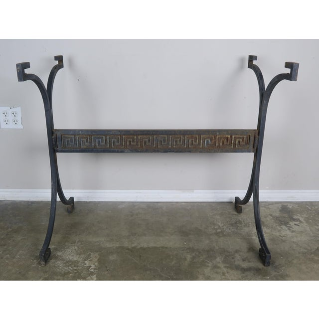 1940s Greek Key Iron and Marble Bistro Table, Circa 1940 For Sale - Image 5 of 10