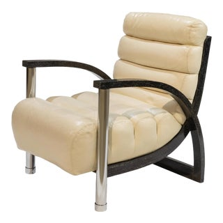 "Vintage Jay Spectre ""Eclipse"" Leather Club Chair For Sale"