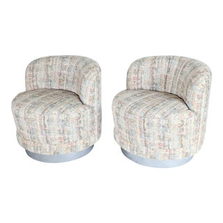 Milo Baughman Style Swivel Lounge Chairs - a Pair