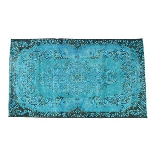 Contemporary Turkish Hand Knotted Rug Turquoise Overdyed Area Rug - 3′11″ X 6′10″ For Sale