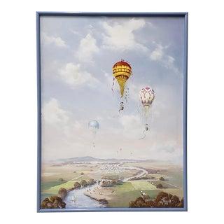 """Al Devens """"Balloon Festival"""" Original Oil Painting C.1981 For Sale"""