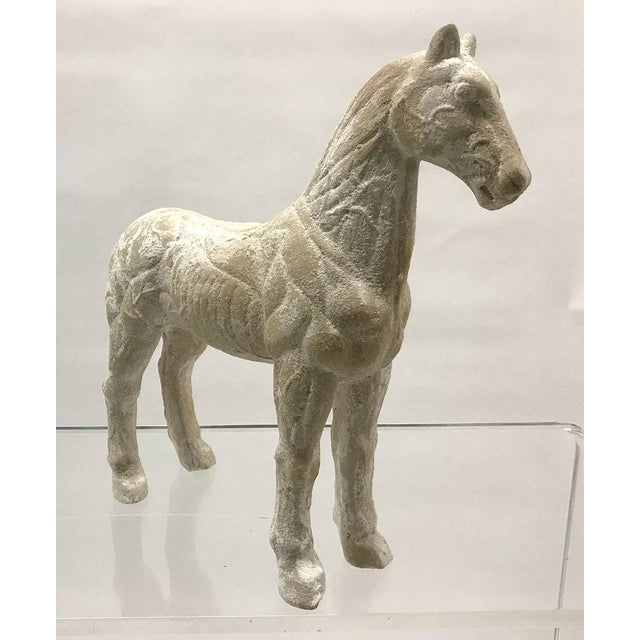 Vintage horse figural model executed in plaster, circa Mid-20th century. Textural finish over white plaster. Purchased...