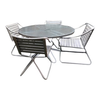 1970's Vintage Brown Jordan Kailua Collection Glass Top Table and Aluminum Tubular Chairs Set For Sale
