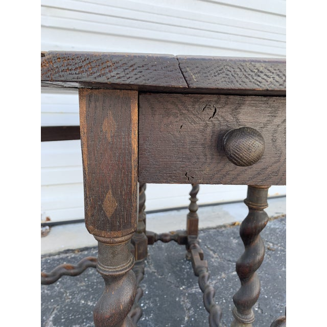 Antique Renaissance Twist Gate Leg Drop Leaf Table For Sale In Miami - Image 6 of 13
