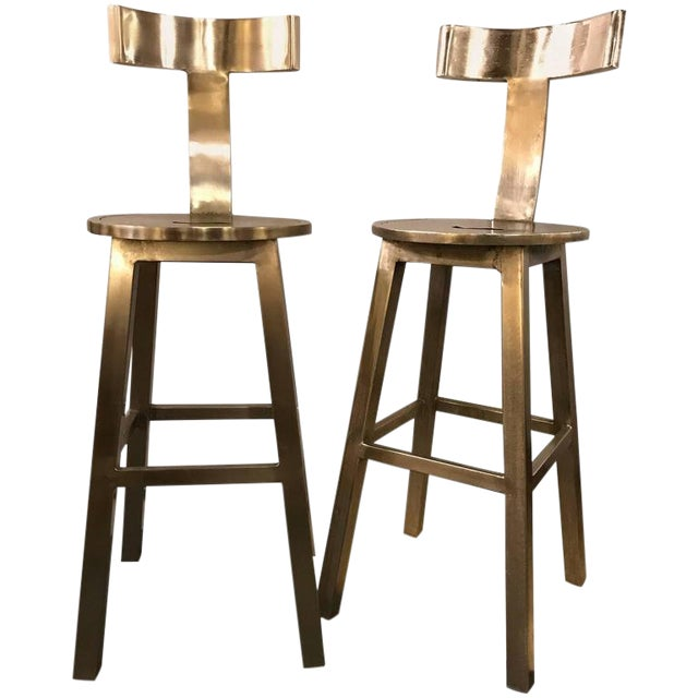 A Pair of Deco Style Steel Bar Stool For Sale
