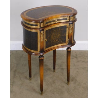 Theodore Alexander Leather Wrapped Kidney Shape One Drawer Stand Preview