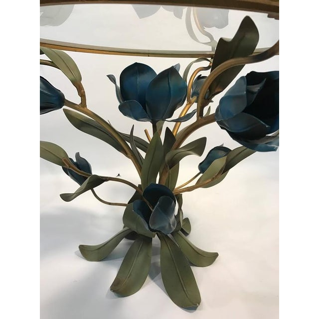 Brass BEAUTIFUL PAIR OF MIXED- METAL SIDE OR ACCENT TABLES WITH FLOWER AND LEAF DESIGN For Sale - Image 7 of 8