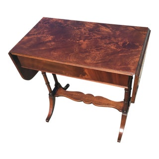 1920s Traditional Mahogany Drop Leaf Occasional Table For Sale