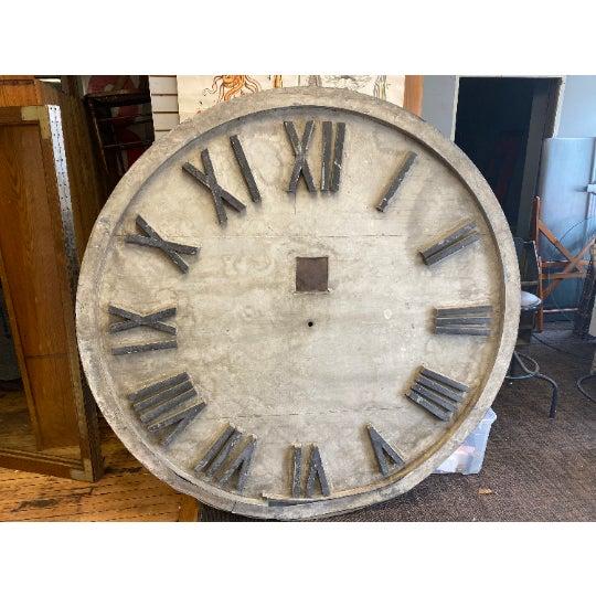 Clock face from the exterior of a midwestern courthouse, circa late 19th century. Grand 6-foot diameter in weathered...