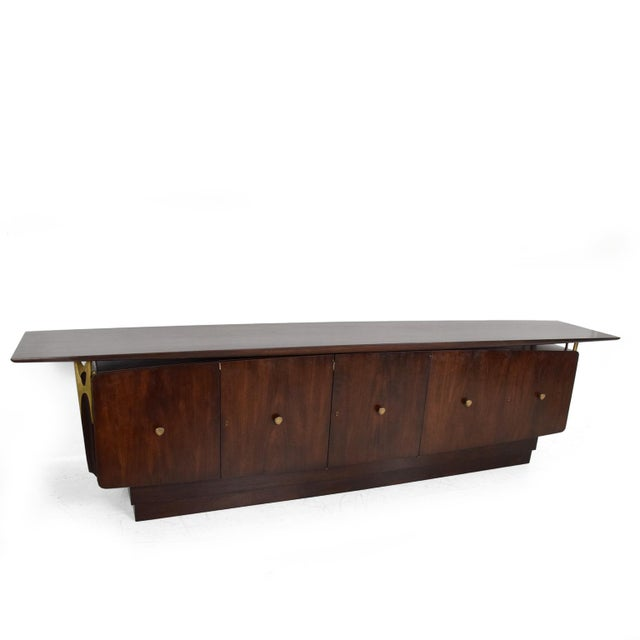 Mid Century Modern Solid Mahogany & Brass Credenza Attributed to Eugenio Escudero - Image 2 of 7