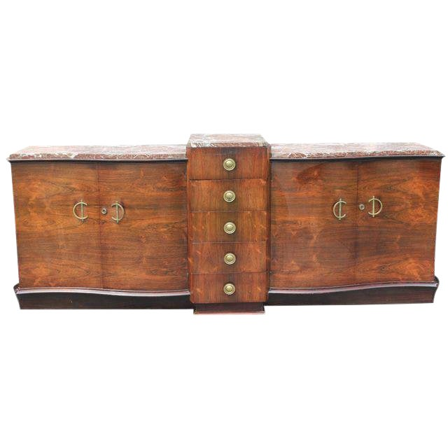 1940s Art Deco Grand Scale Macassar Ebony Sideboard For Sale