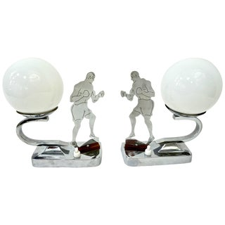 Art Deco English Nickel Boxer Table / Desk Lamps With White Glass Globes - a Pair For Sale