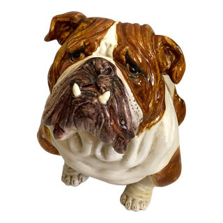 1960s Vintage Italian Terracotta Bulldog Figurine For Sale