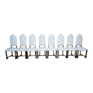 Set of 8 French Antique Arch-Top High Back Reupholstered Oak Dining Chairs For Sale