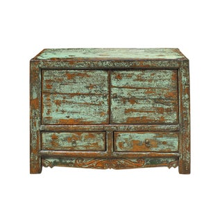 Oriental Distressed Light Blue Green Lacquer Credenza Sideboard Table Cabinet For Sale