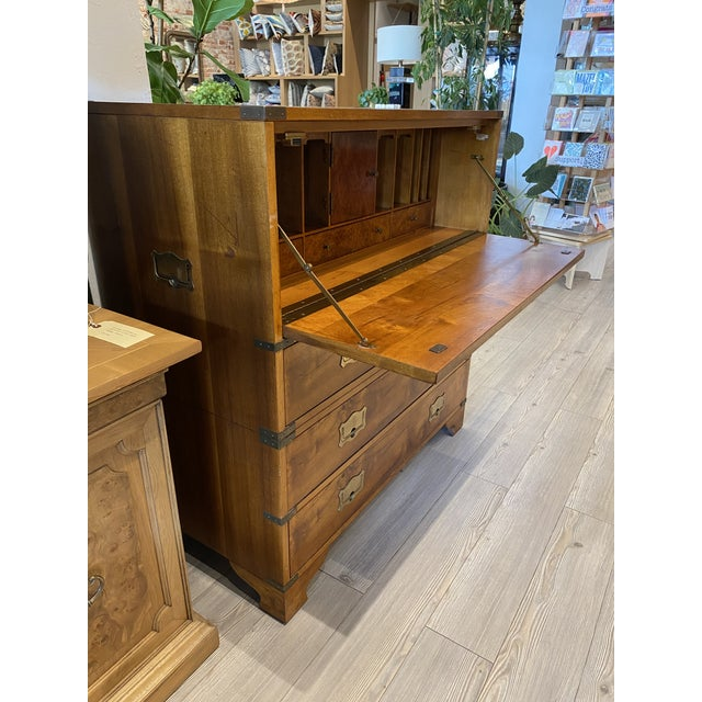 1980s Mount Airy Furniture Company Campaign-Style Mid Century Modern Secretary Chest For Sale - Image 5 of 13
