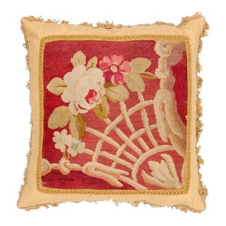French 19th Century Aubusson Tapestry Pillow With Floral Decor and Tassels For Sale