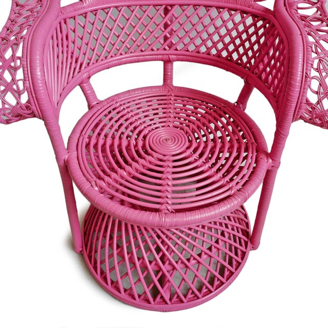 Pink Peacock Wicker Chair For Sale In Los Angeles - Image 6 of 8