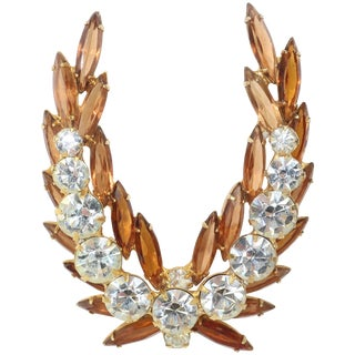 Regal 1950's Laurel Leaf Rhinestone Brooch For Sale