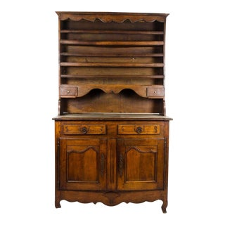 20th Century French Country Walnut Kitchen Hutch For Sale
