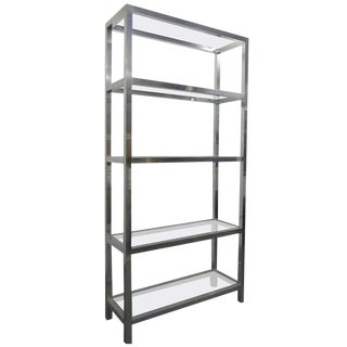 Aluminum Ètagerè With Glass Shelves For Sale