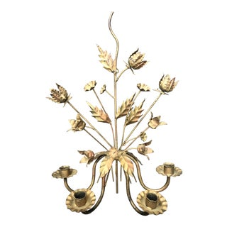 Italian Gilt Floral Tole Candle Sconce For Sale