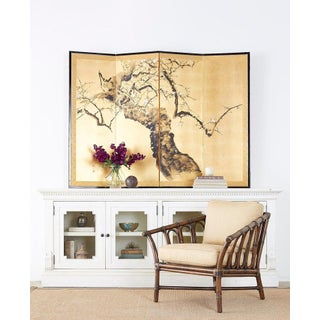 Japanese Four Panel Screen Flowering Prunus Tree Preview