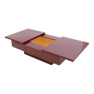 Red Lacquered Sliding Bar Coffee Table For Sale