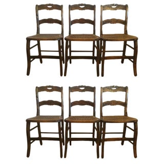 19th Century Traditional Grain Painted Dining Side Chairs - Set of 6