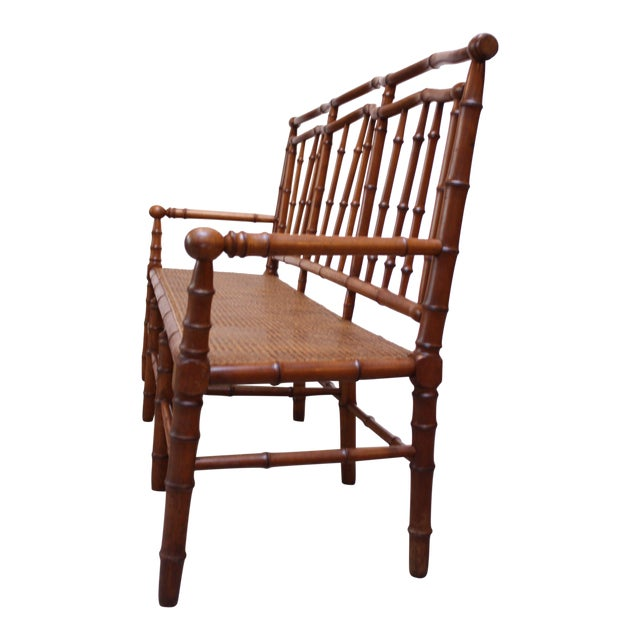 Mid-20th Century Faux-Bamboo Settee Bench in Cherrywood For Sale