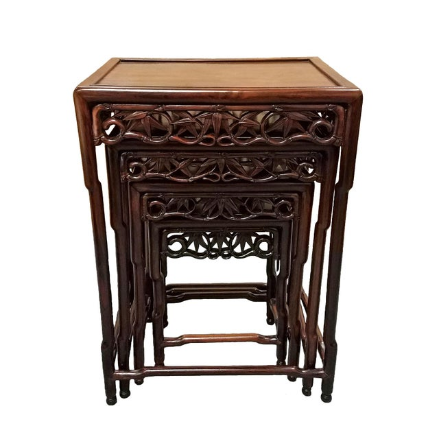 1900s Chinese Carved Hardwood Nesting Tables - Set of 4 For Sale In Charleston - Image 6 of 6